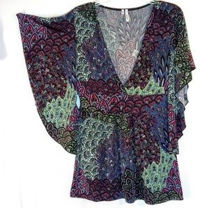 S - Slinky Angel-Wing Sleeve Shirt Top Tunic Boho